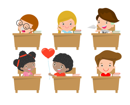 studying classroom: kids in classroom, child in classroom, kids studying in classroom, little school children, sitting at the desks,Back to school, Vector Illustration