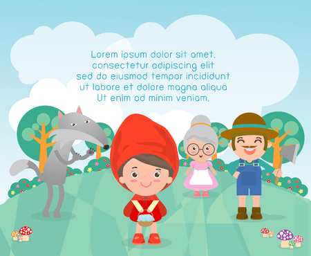 little child: Little Red Riding Hood, Template for advertising brochure,your text ,Cute Little Red Riding Hood, Kids and frame,child and frame,Vector Illustration Illustration