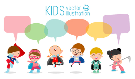 pre adolescent child: Cute superhero kids with speech bubbles, Set of  superhero child  with speech bubbles isolated on white background,Vector Illustration