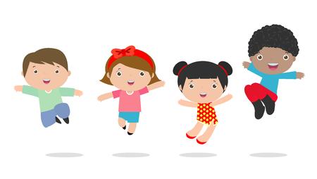 I bambini che saltano con la gioia, i bambini di salto felici, bambino felice del fumetto che gioca, bambini che giocano sul fondo bianco, illustrazione di vettore Archivio Fotografico - 76736486