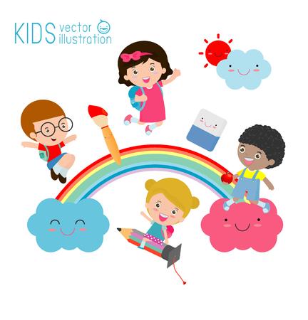 kinderen en regenboog, Terug naar school, Diverse kinderen op de regenboog, Schoolkinderen met de regenboog op witte achtergrond. Vector illustratie