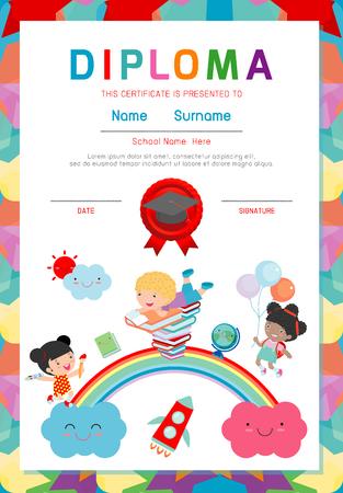 Certificado De Niños De Diploma, Jardín De Infantes Plantilla De ...