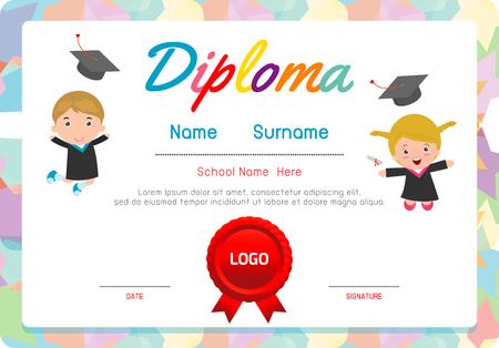 Certificados De Jardín De Infantes Y Primaria, Diploma Niños ...