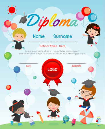 Preschool Elementary school Kids Diploma certificate background design template, Preschool Kids Diploma certificate background design template, Diploma template for kindergarten students, diploma kids  イラスト・ベクター素材