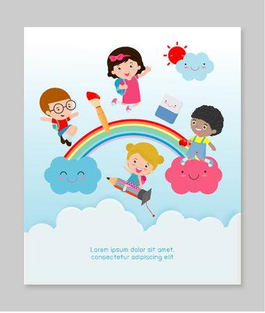 nubes caricatura: De nuevo a la escuela, los niños de la escuela, concepto de educación de los niños, los niños van a la escuela, Plantilla para el folleto de publicidad, su texto, Niños y marco, niño y marco, ilustración vectorial
