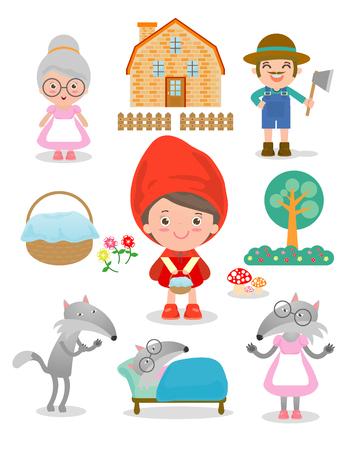 赤ずきんちゃん童話白い背景、ベクトル図の文字のセット  イラスト・ベクター素材