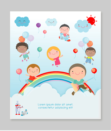 Kids Party, happy on sky, children happy party celebration Template for advertising brochure. Ready for your text, Vector illustration