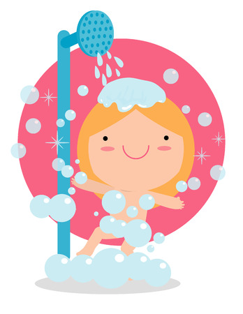 white bathroom: girl in a bathroom taking a good shower, kids taking shower in bathroom,child healthy lifestyle concept. Vector illustration Isolated on white background. Illustration