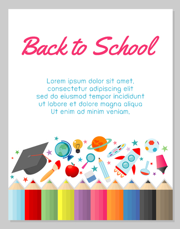 education object on back to school background, back to school, education concept, Template for advertising brochure, your text ,Vector Illustration 向量圖像
