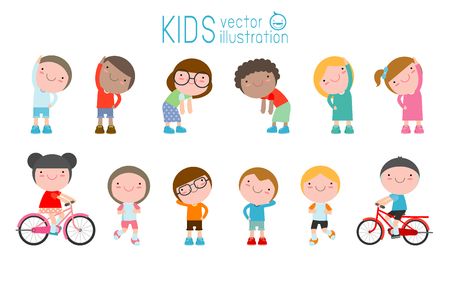 Kids exercising, children stretching ,child exercising , happy Kids Exercising, flat cute cartoon design vector illustration. Stock Vector - 80491843