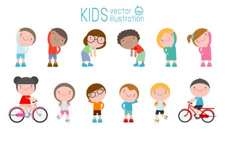 Kinderen oefenen, kinderen die zich uitstrekt, het uitoefenen van het kind, gelukkige kinderen oefenen, platte schattig cartoon ontwerp vectorillustratie.
