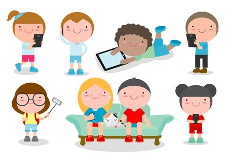 ガジェット、子供文字少年と携帯電話、ガジェット、児の女の子を持つ子供子供のタブレット、子供タブレット、携帯電話、携帯電話、ベクトル図