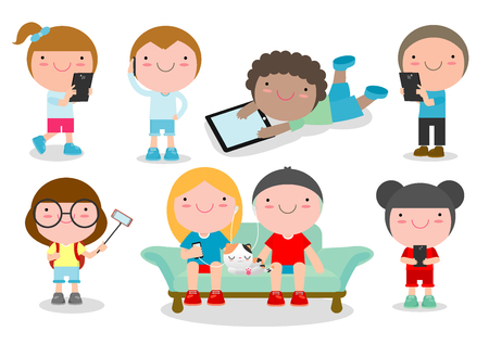 mobilephone: kids with gadgets, Kids Characters Boy and Girl with Mobile,children with gadgets, kid Tablet, People with their gadgets, children Tablet, kids with Mobile, child with Mobile, Vector Illustration.