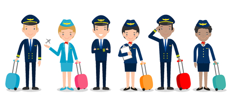 pilot and stewardess. set of officers and flight attendants Stewardesses  isolated on white background, pilot and air hostess. Illustration