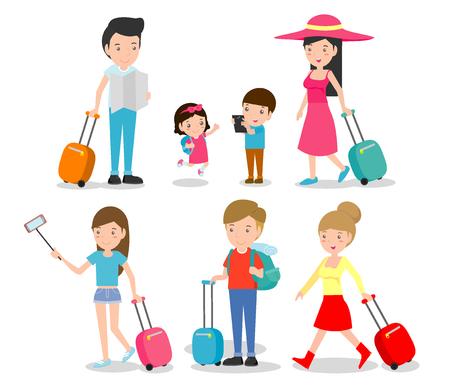 Impostare i personaggi dei viaggiatori di famiglia. persone e bambini che viaggiano. Design piatto. famiglia in vacanza in vacanza. Illustrazione Vettoriale Archivio Fotografico - 80894891