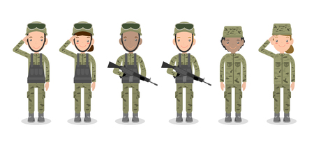 us air force: set of soldiers. men and women. flat cartoon character design isolated on white background. US Army , soldiers Isolated vector illustration.