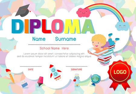 证书幼儿园和小学,学龄前儿童文凭证明模式设计模板,幼儿园学生的文凭模板,孩子们文凭,矢量图。
