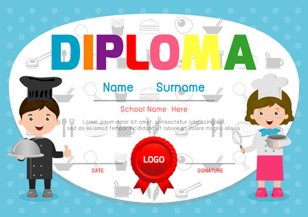 Template Of Children\'s Diplomas And Certificates, Little Chef ...