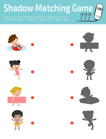 joining the dots: Shadow Matching Game for kids, Visual game for kid. Connect the dots picture,Education Vector Illustration.