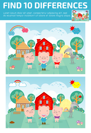 find differences,Game for kids ,find differences,Brain games, children game, Educational Game for Preschool Children, Vector Illustration,Three little pigs Vettoriali