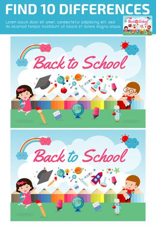 Trova le differenze, Gioco per bambini, trova le differenze, Brain giochi, gioco per bambini, Gioco educativo per bambini in età prescolare, illustrazione vettoriale, torna a scuola Archivio Fotografico - 81786012