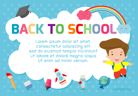 Kids jumping, education concept, Template for advertising brochure. Illustration