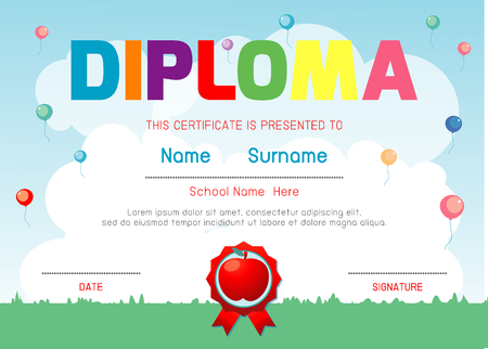 Certificates kindergarten and elementary, Preschool Kids Diploma certificate pattern design template, Diploma template for kindergarten students, Certificate of kids diploma, vector illustration