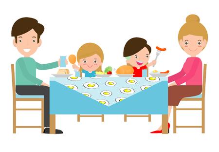 Familie zusammen essen, Vater, Mutter und Sohn, Tochter sitzen am Tisch auf weißem Hintergrund, Vektor-Illustration