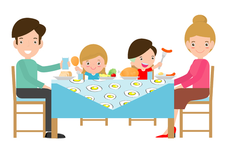 family having meal together,Father, mother and son,daughter sit at the table  on white background,Vector illustration