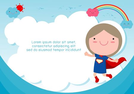 Superhero kid against blue sky background,Template for advertising brochure and invitation. Illustration