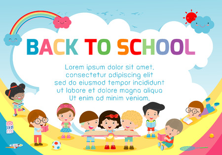 Back to School concept with Kids jumping design,   Template for advertising brochure, your text Illustration.
