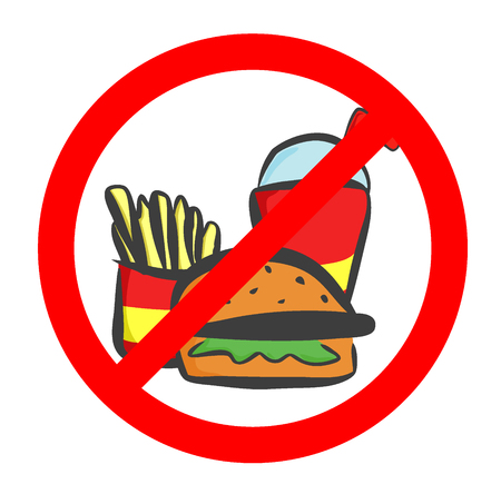 Do not eat and drink symbol. No eating or drinking, prohibition sign.Vector illustration