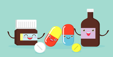 Medicine funny,pills, capsules ans prescription bottle,hospital set of drugs, Medication, pharmaceutics concept. Vector illustration Illustration