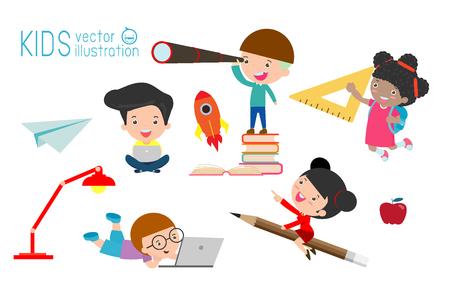 set of school kids in education concept, back to school Vector Illustration. Illustration
