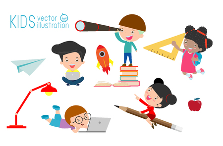 set of school kids in education concept, back to school Vector Illustration. 일러스트