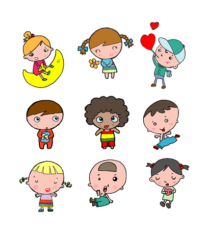 Set of diverse kids isolated on white background. Different nationalities and dress styles. European children, America's kids, Asian child, African kid, happy children boy and girl. Vector Illustration Illustration