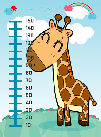 Meter wall with giraffe. Cheerful funny giraffe height. wall height meter with cute smiling african animal.vector illustration.