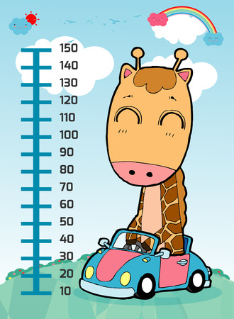 Meter wall with giraffe. Cheerful funny giraffe height. wall height meter with cute smiling African animal. Vector illustration.