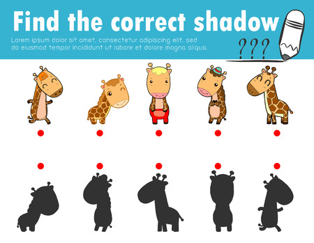 Cute little giraffe, find the correct shadow. Educational game for children, shadow matching game for kids, visual game for kid. Connect the dots picture, education vector illustration. Иллюстрация