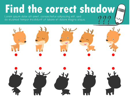 Cute little deer, find the correct shadow. Educational game for children, shadow matching game for kids, visual game for kid. Connect the dots picture, education vector illustration.
