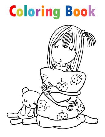 Libro para colorear, niña durmiendo de dibujos animados lindo, libro para colorear para niños. Ilustración vectorial