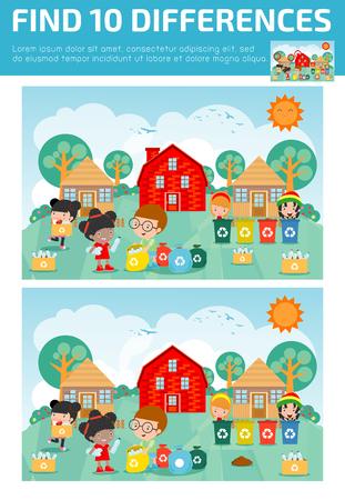 Find differences, game for kids, brain games, children game, Educational game for preschool children. Vector illustration.