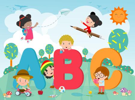 bambini dei cartoni animati con lettere ABC, bambini delle scuole con ABC, bambini con lettere ABC Vettoriali