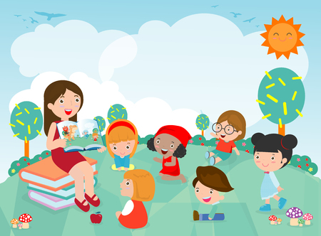 Leraar vertelt een verhaal aan kleuters in de tuin, schattige kinderen luisteren naar hun leraar Vertel een verhaal, leraar leest boeken voor kind in de kleuterschool. Vector illustratie Vector Illustratie