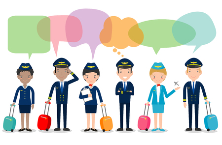 pilot and stewardess with speech bubbles. set of officers and flight attendants Stewardesses with speech bubbles isolated on white background, pilot and air hostess.Vector illustration