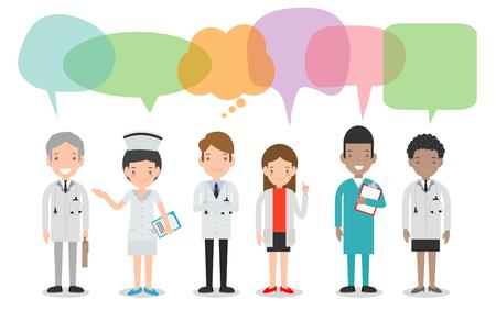 conjunto de médico, enfermeras, personal médico en estilo plano con bocadillos, grupo de médicos y enfermeras y personal médico con bocadillos aislados sobre fondo blanco Ilustración vectorial