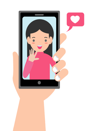 Video call with loved one. male hand holding smartphone with grilfriend on screen. Online dating, long distance relationship concept.Couple talking in messenger.Flat cartoon vector illustration.