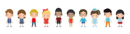 Happy kids cartoon collection. Multicultural children in different positions isolated on white background ,European children, America's Children, Asian kid,African kid, happy children,Vector