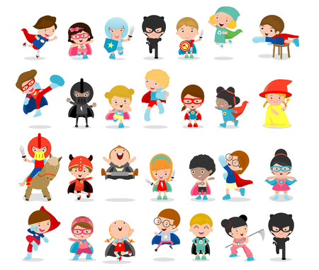Cartoon big set of Kid Superheroes wearing comics costumes,Kids With Superhero Costumes set, kids in Superhero costume characters isolated on white background, Cute little Superhero Children's Stock Vector - 104655333