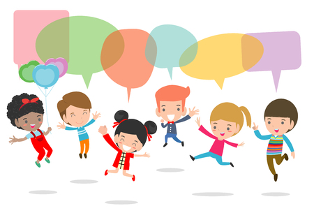 Cute kids with speech bubbles, stylish children jumping with speech bubble, children talking with speech balloon. jumping kids, Multi-ethnic children jumping, Kids jumping with joy,Vector Illustration Illustration